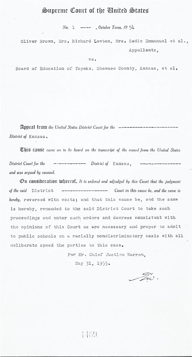 brown board education final decision 1954