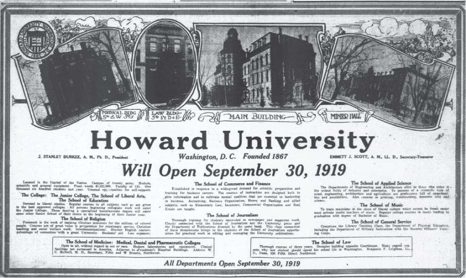 howard university advertisement 1919
