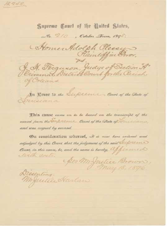 plessy ferguson judgement 1892