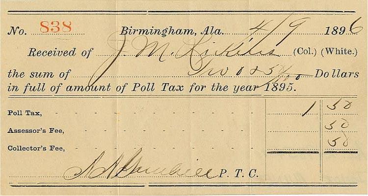 poll tax receipt alabama 1896